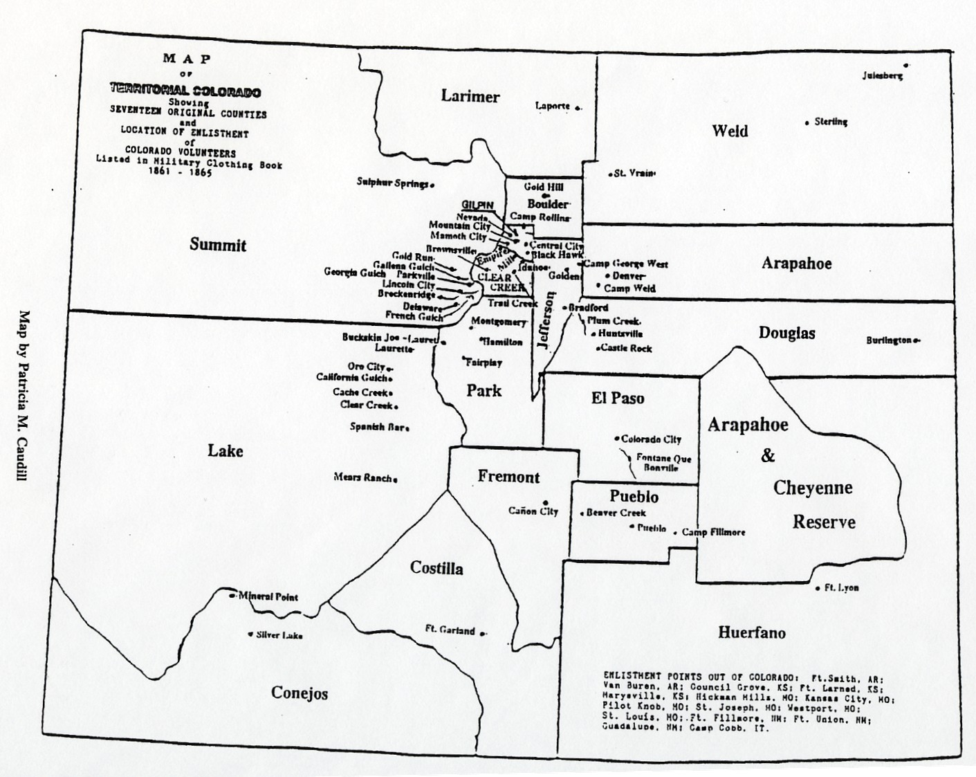 Colorado Territory Map 1861-1865